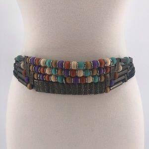 Vintage Boho Wood and Metal Bead Leather Belt